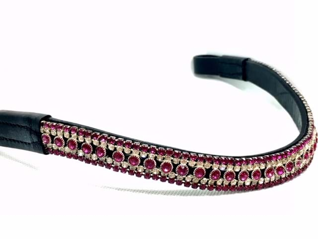 New Crystal 3 Row Browband size Full Cob and Pony colour Clear Burgandy